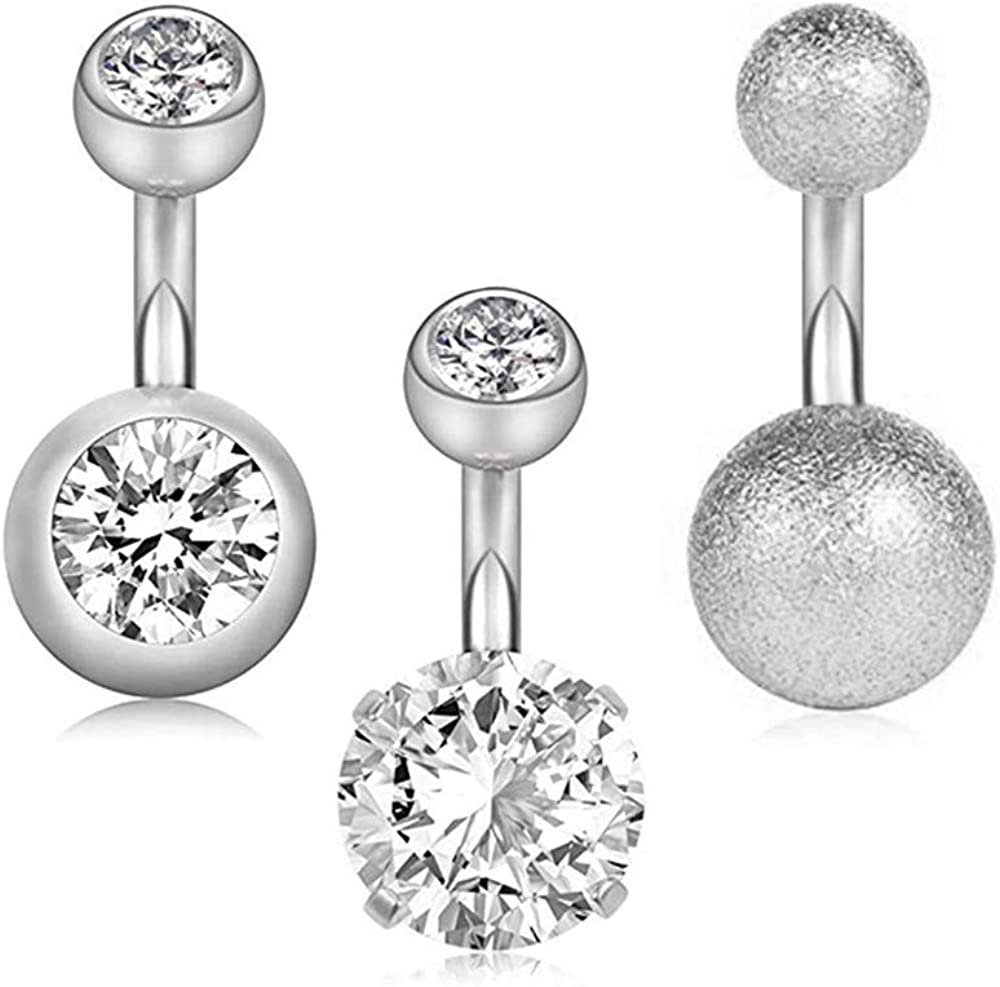 Gnoliew 14G 6mm 1/4 Inch Short Belly Button Rings 316L Surgical Steel Navel Rings 3PCS