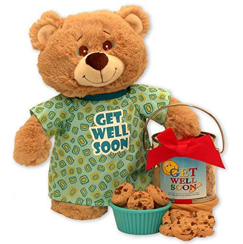 Get Well Teddy Bear Delivers Cookie Tin