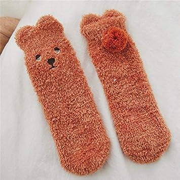 MYQNSGSZ Calcetines térmicos de Engrosamiento de Felpa de Invierno Femenino Tubo Medio Calcetines de Terciopelo de