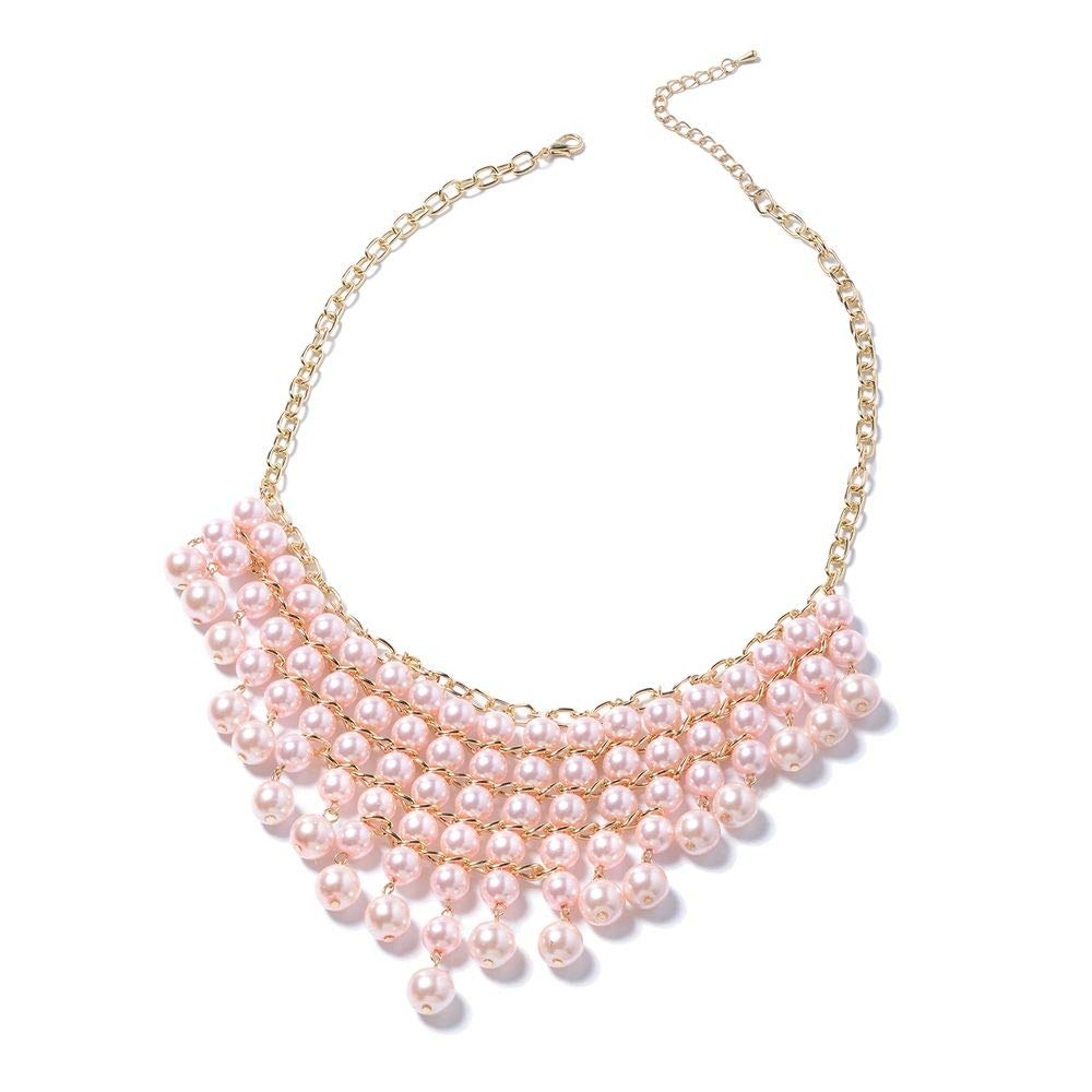 TJC Pink Glass Pearl Glass Steel Bracelet 6 in Necklace 20 in Iron 3 Pcs Earring