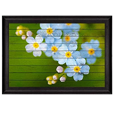 Small Blue and White Flowers Over Green Wood Panels Nature Framed Art, Premium Product, Fascinating Visual