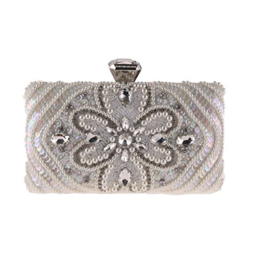 Party Wallets rhinestone Evening Small Beaded Bag Package White Clutch Evening FFwUaq0C