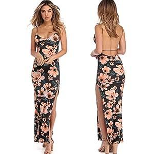 FeiXiang - Vestido largo para mujer, diseño floral, con estampado de camis, sin espalda, para fiesta sexy negro gris S