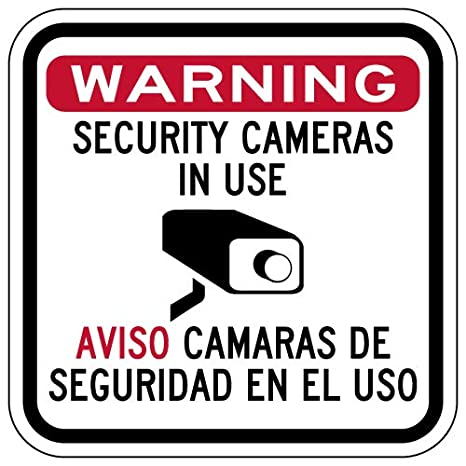 Amazon.com: STOPSignsAndMore - Bilingual Security Cameras in Use Sign - 12x12: Office Products