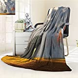AmaPark Digital Printing Blanket Christian Small Church Trees View Silky Satin Orange White Gray Summer Quilt Comforter