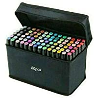 80PCS Marker Pen Set Dual Heads Graphic Artist Craft Sketch Copic Touch Markers (Black)