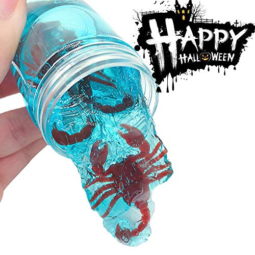 Gbell Halloween Scary Clear Fluffy Slime Toy,Green Red Blue Snake Scorpion Chilopod Crunchy Clear Slime,Squeeze Putty Stress Clay Mud Toys for Kids Girls Adults Halloween Party Favor,80ML -