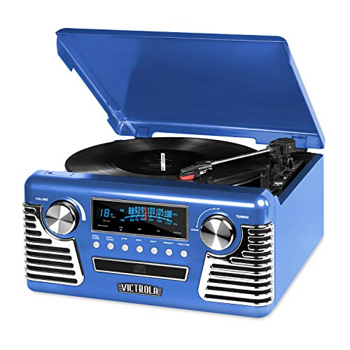 Victrola 50's Retro 3-Speed Bluetooth Turntable with Stereo, CD Player and Speakers, Blue (Pink Bluetooth Cd Player)