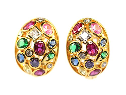 Beautiful Ruby Cz Stones 24k Yellow Gold Plated Thai Siam Princess Style Earrings ()