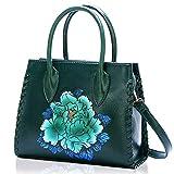 Ruiatoo Satchel Purses and Handbags for Women Classic Peony PU Leather Shoulder Bag Green