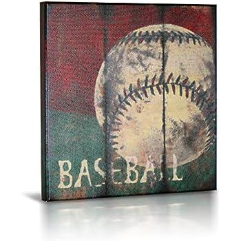 Amazon Com Baseball Sports Canvas Wall Art Boys Bedroom