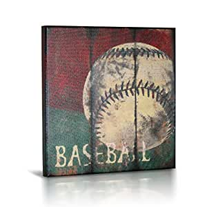 """Baseball Sports Canvas Wall Art   Boys Bedroom Décor   Kids Room   Vintage Sports Art   Baseball Decor   For Sports Room & Game Room   Great Gift   Large Size 18""""x18"""""""