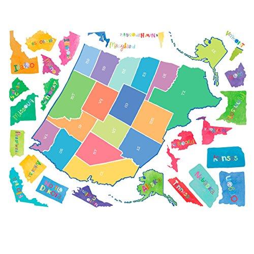 Playroom Wall Stickers - Wallies Wall Decals, U.S. Map Wall Sticker