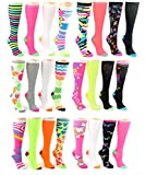 24 Pairs Pack of WSD Women's Knee High Socks, Value Pack, Novelty Socks (Assorted Neon Prints, 9-11)