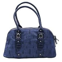 Christian Audigier Joann Tweed Satchel Womens Handbag Blue