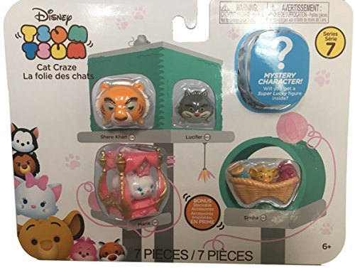 Tsum Tsum Disney 7 Pack Figures Series 7, Style #1, Cat Pack