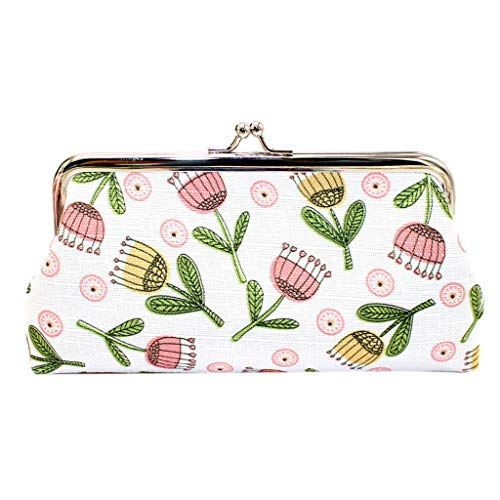 (Women Bag, Matoen Fashion Women's Printing Flower Coin Purse Card Holders Handbag Square Clutch (Pink))