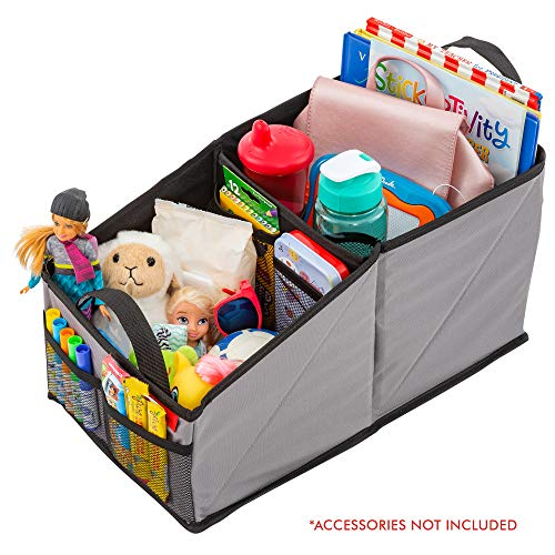 Organizer for Front or Backseat with Black Stitching Great for Adults & Kids Featuring 9 Storage Compartments for Toys, Magazines, Tissues, Maps, Books, Documents, Games & More ()