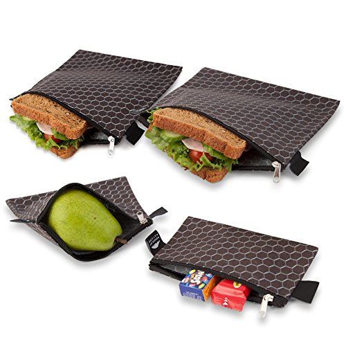 Nordic By Nature Premium Black Metal Sandwich & Snack Bags | Designer Set of 4 Pack | Resealable, Reusable and Eco Friendly Dishwasher Safe Lunch Bags | Functional Easy Open Zipper | Great Value Bags ()
