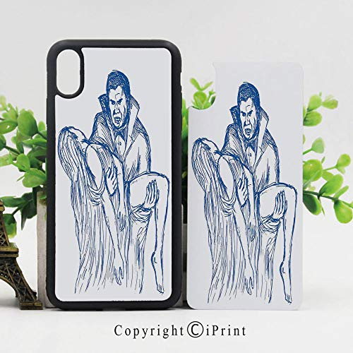 iPhone X Case,Count Dracula in Cape Carrying His Prey Victim Woman Sketchy Halloween Artwork iPhone X Shockproof Protective Case TPU Bumper Compatible Apple iPhone X 5.8