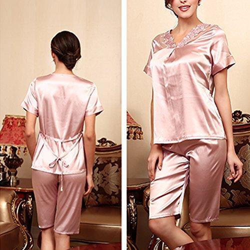 Zhhlaixing Fashion two-piece Womens Satin T-shirt and Short Set Nightwear Pyjamas Pink