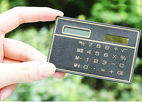 Exiron 8 Digits Ultra Thin Mini Slim Credit Card Solar Power Pocket Calculator Black