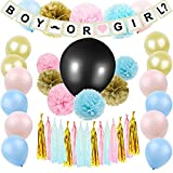 Gender Reveal Party Supplies, JOFAMY Baby Shower Decorations with Boy Girl Banner, 36'' Gender Reveal Balloon, 50Pcs Latex Balloons, Tissue Paper Flowers Tassels Garland for Baby shower Ideas Party Bir