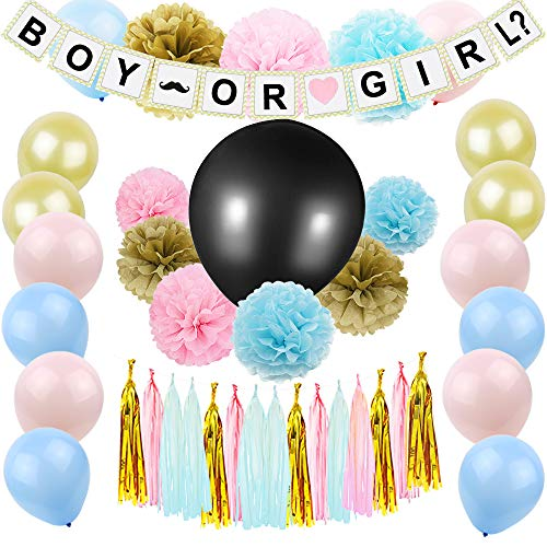Gender Reveal Party Supplies, JOFAMY Baby Shower Decorations with Boy Girl Banner, 36'' Gender Reveal Balloon, 50Pcs Latex Balloons, Tissue Paper Flowers Tassels Garland for Baby shower Ideas Party Bir by JOFAMY