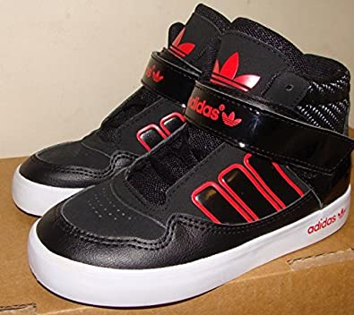 4909d1a360a3d adidas Originals AR 2.0 Childs Hi Top Trainers Black Red Size 8K