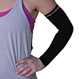Compression Arm Sleeves – BeVisible Sports – Arm & Elbow Support For Men, Women & Youth - Boosts Circulation, Aids Faster Recovery -With SPF 50+ UV Sun Protection - 1 Pair - (Small/Medium, Black)