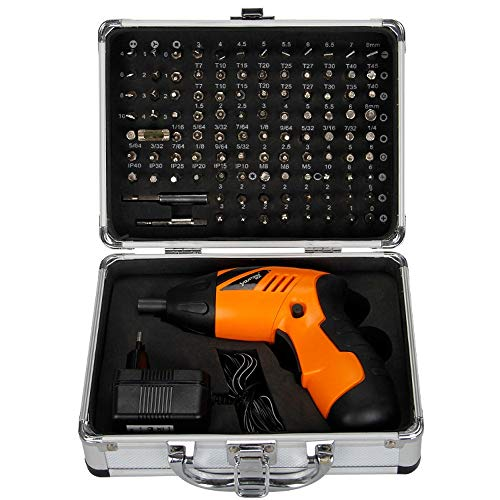 KLT 4.8V Lithium-Ion Cordless Electric Screwdriver/Household Multifunction Screwdriver/Driver Power Gun Tools with Trigger Activated LED light 220V standard charger-104 pcs bit ()