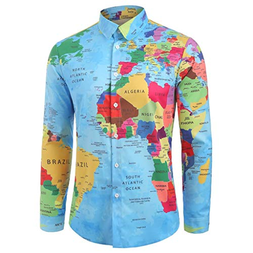 Mens Long Sleeve T Shirts ♣ Male Dress Shirt World 3D Print Turn-Down Collar Top Blouse Travel Geography
