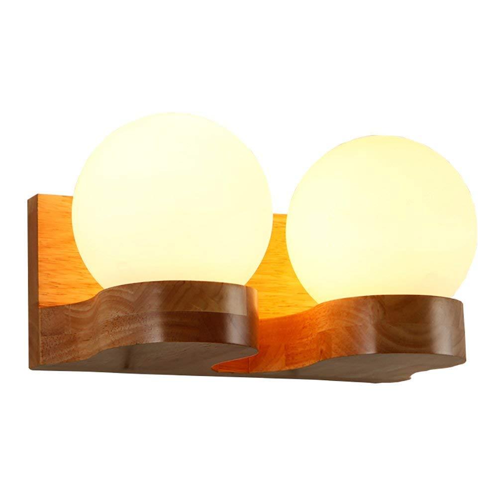 Wandleuchte Licht kreativ, massivem Holz Wandleuchten Led Schlafzimmer Nachttischlampe Wohnzimmer dekorative Leuchten, Doppel Kopf Flur Leuchten E27 (Farbe  Doppel-Kopf)