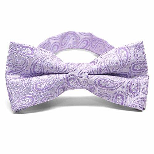 TieMart Thistle Purple Darlene Paisley Band Collar Bow Tie