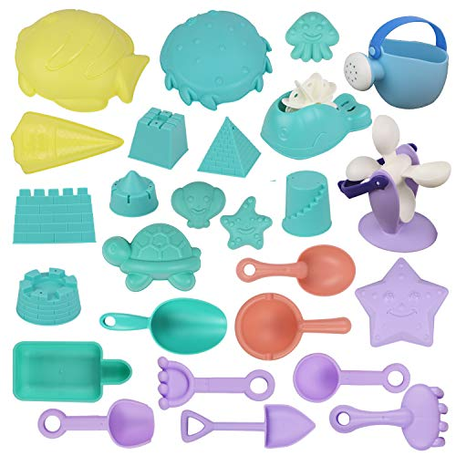 ToyerBee Sand Toys - 26Pcs Beach Toys with Molds, Wheel, Shovel, Castle, Bag- Toys for Boys & Girls & Toddlers