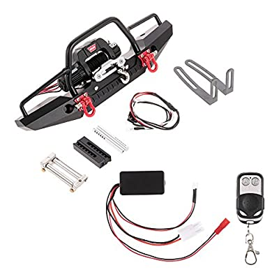 Goolsky Metal Front Bumper with 2 LED Light & Remote Control Electric Winch for Traxxas TRX-4 SCX10II 90046: Toys & Games