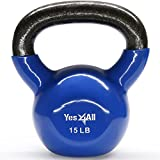 Yes4All Vinyl Coated Kettlebell Weights Set – Great for Full Body Workout and Strength Training – Vinyl Kettlebell 15 lbs