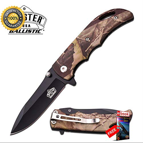 - SPRING ASSISTED FOLDING POCKET Sharp KNIFE Black Blade Tan Fall Camo Hunter Tactical EDC Combat Tactical Knife + eBOOK by Moon Knives