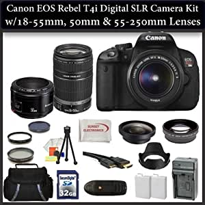 Canon EOS T4i DSLR Camera with 3 Canon Lens Pro Pack: Includes - Canon EF-S 18-55mm f3.5-5.6 IS - Canon EF-S 55-250mm f/4-5.6 IS Autofocus Lens - Canon EF 50mm f1.8 II Autofocus Lens, 3 Piece Pro Filter Kit and much more... 6558B001