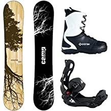 Camp Seven Roots CRC Snowboard and 2018 System LTX Flow Style Rear Entry Step In Binding Men's Complete Snowboard Package
