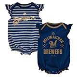 Outerstuff Milwaukee Brewers MLB Majestic Infant Team Sparkle 2 Pack Frill Creeper Set