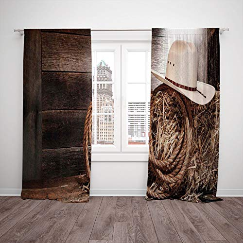 2 Panel Set Satin Window Drapes Kitchen Curtains,Western American West Rodeo Hat with Traditional Ranching Robe on Wooden Ground Folk Art Photo Decorative Brown Beige,for Bedroom Living Room Dorm Kitc -
