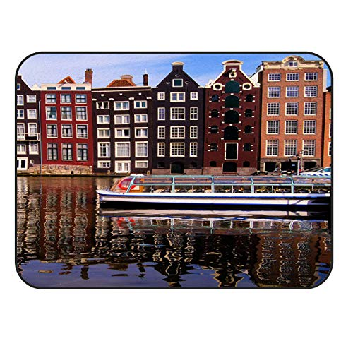 BMALL Modern Area Rugs Old Buildings in Amsterdam City with The River 2'x3' Large Rug for Living Room, Bedroom, and Dining Room]()