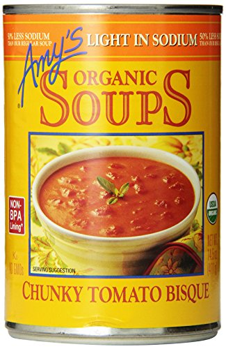 - Amy's Organic Chunky Tomato Bisque Soup, Light in Sodium, 14.5-Ounce