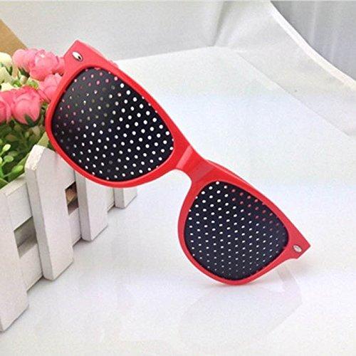 WEKA Black Lens Glasses with Small Holes Sunglasses Vision Care Improver Glasses Exercise Improve Eye Eyesight Eyewear- Red Frame