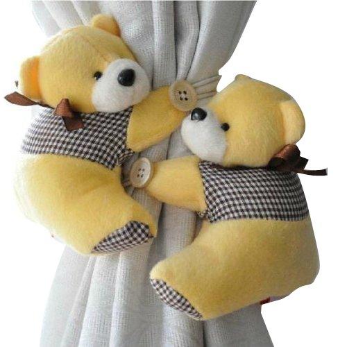 1 Pair Bear Window Curtain Tieback Buckle Clamp Hook Fastener(yellow) by Generic