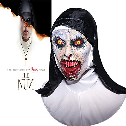 Monstleo The Nun Mask, Hood Adult Scary Horrible Halloween mask Women Costume Masquerade -