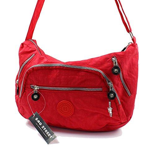 BAG STREET modische Tasche Damentasche Schultertasche Clutch Beuteltasche Shopper Bag Rot Nylon- by Beauty-Butterfly24