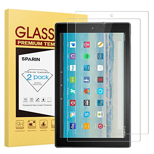 ([2 Pack] Fire HD 10 Screen Protector, SPARIN Tempered Glass Screen Protector with Scratch Resistant/Easy Install for All-New Fire HD 10 / Fire HD 10 Kids Edition)