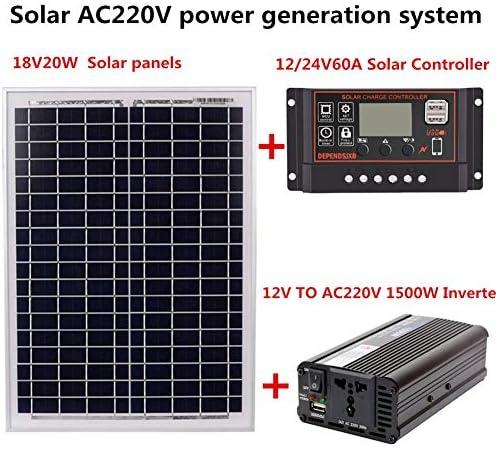 QueenHome Solar-Generationssystem - Solarpanel AC220 V 1500 W 18 V 20 W + Kit Solar-Controller + Wechselrichter Hardware und Zubehör, 60A